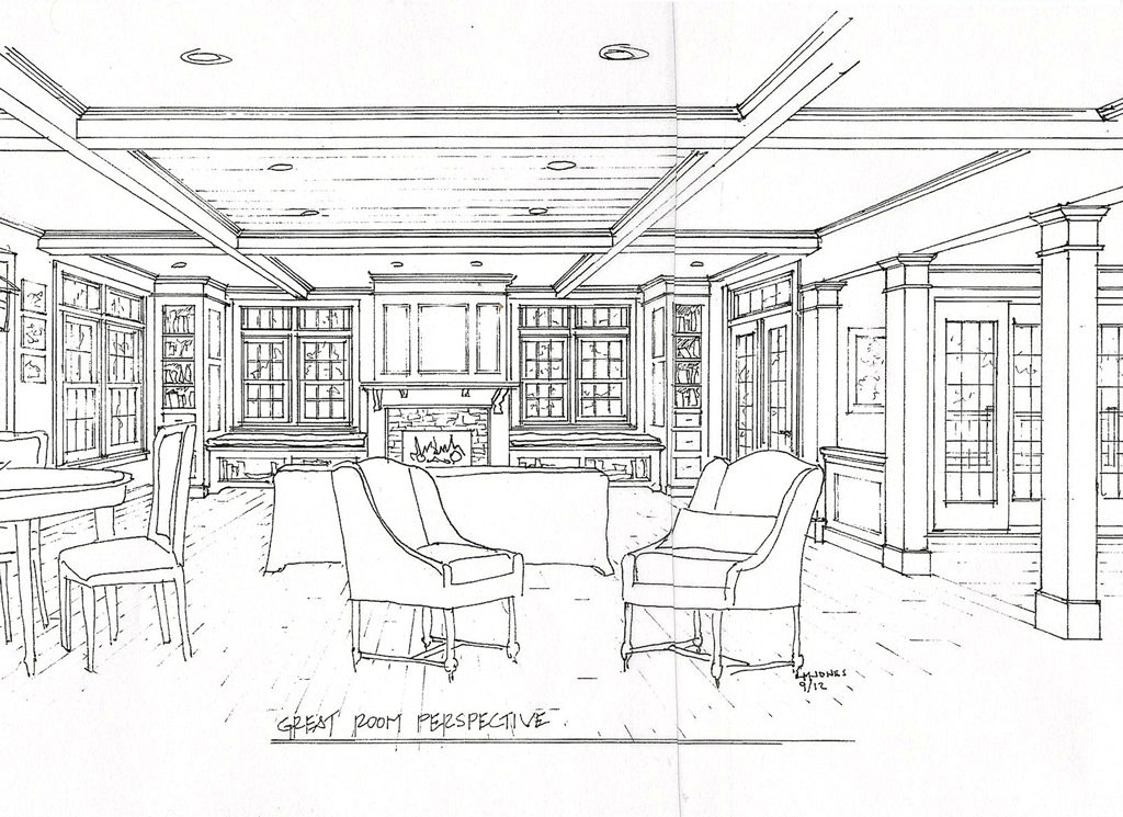 Great Room Concept Drawing— Laine M. Jones Design